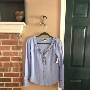 free people Blue Braided Textile Henley